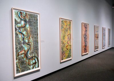 Liz Ward, Installation view, Floating Life: Mississippi River Drawing, 2019, Tyler Museum of Art