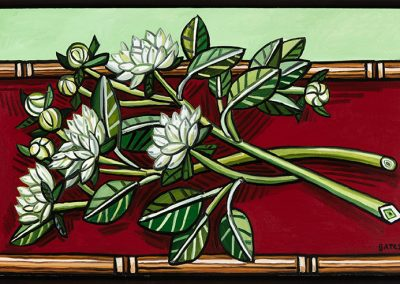 David Bates, Dahlias on a Red Table, 2016, Oil on canvas, 26h x 41w in