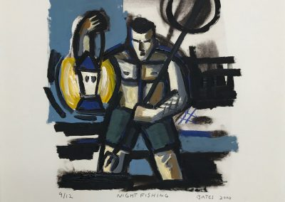 David Bates, Night Fishing, 2000, Mixed media over lithograph on paper, 21h x 18w in