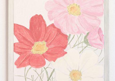 Francesca Fuchs, Framed Sketch: Three Flowers, 2016, Acrylic on canvas over board, 24h x 19 1/2w in
