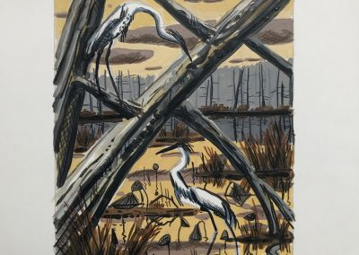 David Bates, Grassy Lake - Fall, 1989, Mixed media on paper, 18h x 15w in