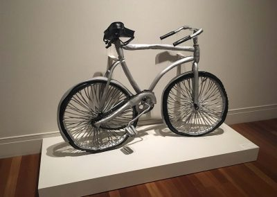 Margarita Cabrera, Bicicletas Gris (Silver), 2006, Vinyl, foam, string and wire, 43h x 74w x 30d in