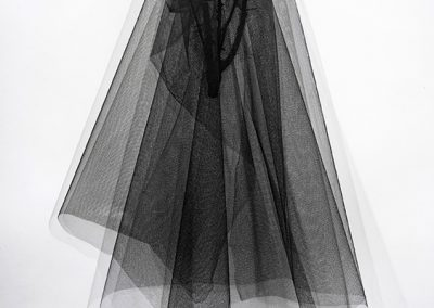 Linda Ridgway, Loss, 2018, Bronze, tulle and netting, 47h x 28w x 18d in