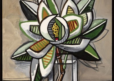David Bates, Magnolia in a Vase, 2016, Oil on canvas, 36h x 30w in