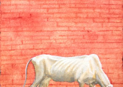 Melissa Miller, Pink Wall (2), 2003, Gouache on paper, 5 3/4h x 4 1/4w in