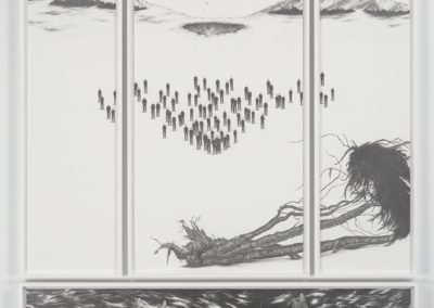 Robyn O'Neil, Oh, How the Heartless Haunt Us All, 2005, Graphite on paper, 4 panels, 89 x 68 inches