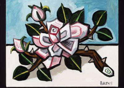 David Bates, Pink Rose Branch, 2016, Oil on canvas, 11h x 14w in