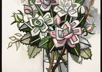 David Bates, Pink and White Roses I, 2017, Oil on canvas, 40h x 30w in