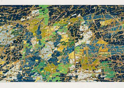 Sam Reveles, Poulaphouca 2, 2016, Gouache on paper, 11h x 30 1/2w in