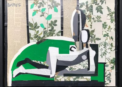 David Bates, Reclining Nude, 2011, Collage on panel, 16h x 21w in
