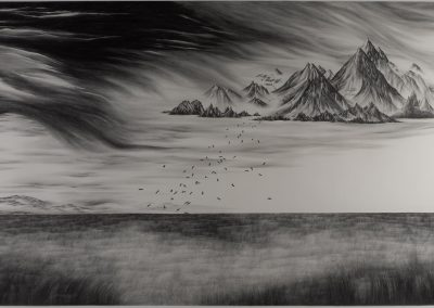 Robyn O'Neil, Staring into the blankness, they fell in order to being, 2008, Graphite on paper, 77 x 144 in