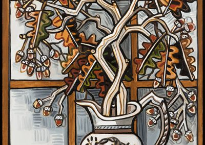 David Bates, Swamp Oak, 2017, Oil on canvas, 60h x 36w in
