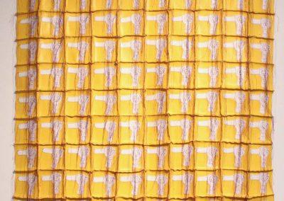 Margarita Cabrera, White Blow Dryer Quilt, 2004, Vinyl and thread, 36h x 35w in