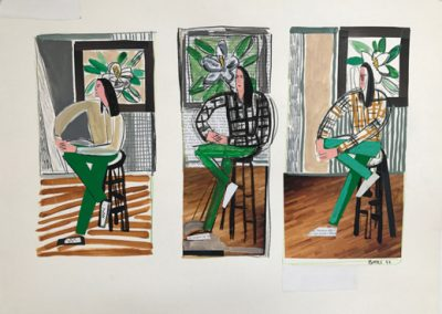David Bates, Woman in Studio Chair, 1994, Mixed media on paper, 22h x 30w in