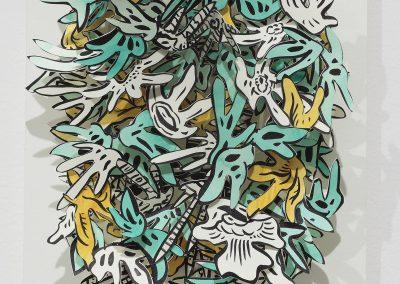 Natasha Bowdoin, Spring Study III, 2017, Ink and gouache on cut paper, 10h x 8w x 4d in