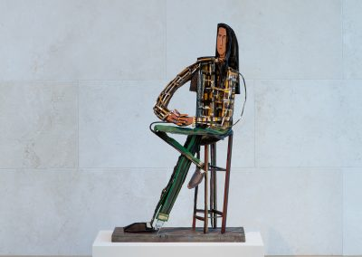David Bates, Woman in Studio Chair, 1994, Painted Bronze, 50 1/2h x 37w x 11d in