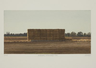 Julie Bozzi, Midday/Stacked Hay, 2014, Gouache on paper, 6 5/8h x 9 3/4w in