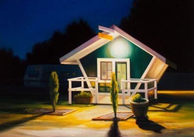 Sarah Williams, Long Beach, 2015, Oil on panel, 24 x 24 in