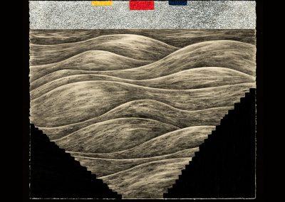 Robyn O'Neil, Staircase Wit (l'espirit de l'escalier), 2016, Graphite, prisma and oil pastel on paper, 19 3/4h x 22 3/4w in