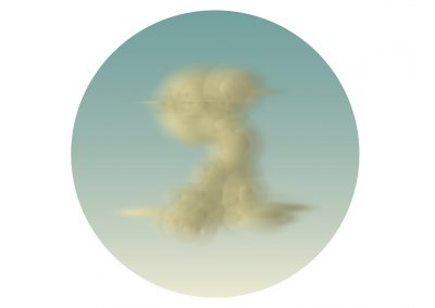 Ted Kincaid, Tondo Thunderhead 429 (Memling), 2015, Solvent based ink on canvas mounted to wood support, 48 inch diameter