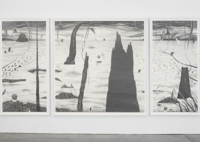 Installation view, HELL, 2011, Graphite on paper, 3 panels