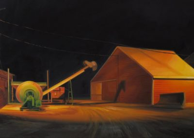 "Sarah Williams, Platte City, 2011, oil on board, 12"" x 24"""