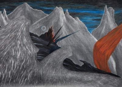 Robyn O'Neil, The Black Sea's Undersong, 2013, Collage, oil pastel and graphite on paper, 50 1/2h x 89 1/2w in