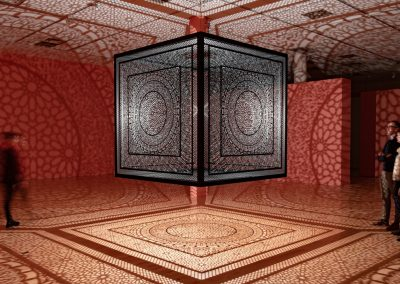 Anila Quayyum Agha, Intersections, 2014, Steel and halogen bulb, 78 x 78 in