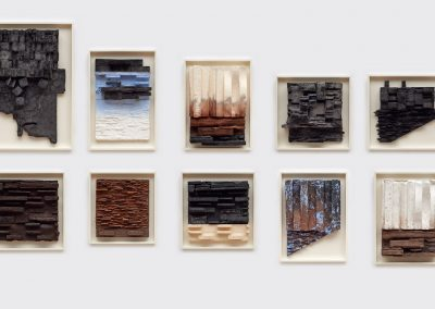 Installation View, Mark Bradford, Leonardo Drew, Julie Mehretu, and Wangechi Mutu, 2019, Jordan Schnitzer Museum of Art WSU, Pullman
