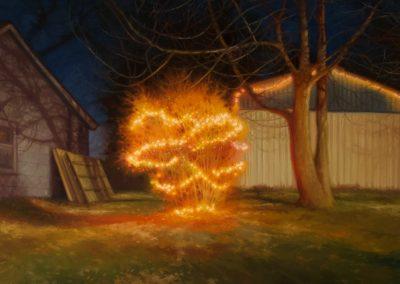 Sarah Williams, Brookfield Backyard 1, 2019, Oil on panel, 9h x 12w in