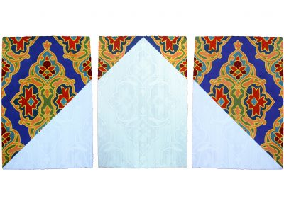 Nida Bangash, Roof I 01,  چھت  , Gouache and silver point on paper, set of three panels, 15 X 22 inches each, 2019