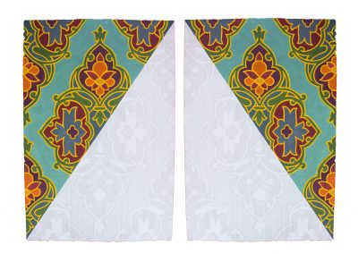 Nida Bangash, Roof I چھت , 02, Gouache and silver point on paper, set of two panels 15 X 22 inches each, 2019