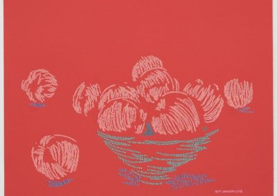 Butt Johnson, Untitled (Peaches), 2018, Marker, ballpoint pen and gel pen on red paper, 15h x 20w in