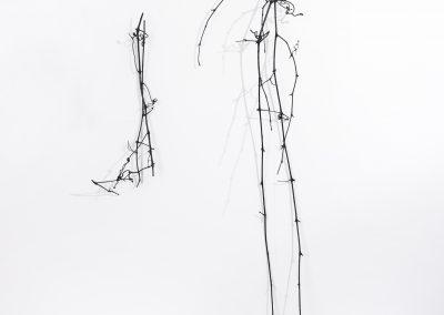 Linda Ridgway,  An evening line seeking its source, 2019,  Bronze,  74h x 30w x 12d in, Photo by Teresa Rafidi