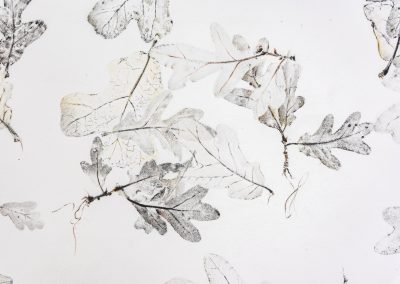 Linda Ridgway, Detail,  But let spotted leaves fall as they fall #1, 2019,  Graphite and colored pencil on paper,  72h x 42w in, Photo by Teresa Rafidi