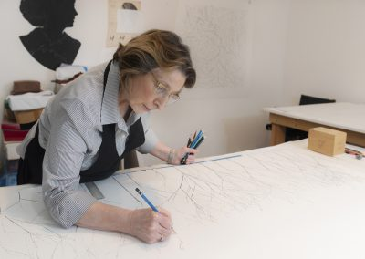 Linda Ridgway in her studio, March 2020, photo by Teresa Rafidi