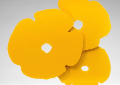 Donald Sultan, Yellow Poppies, 2017, Shaped Aluminum with yellow powder coat on polished aluminum base, 24 1/2h x 24w x 3 1/2d in