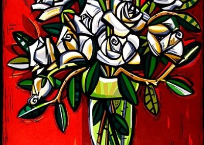 David Bates, White Roses, 2007, Woodcut, 46 3/4h x 35w in