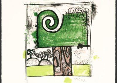 Carroll Dunham, Tree 1, 2009, Lithograph, 25 1/2h x 20 1/8w in
