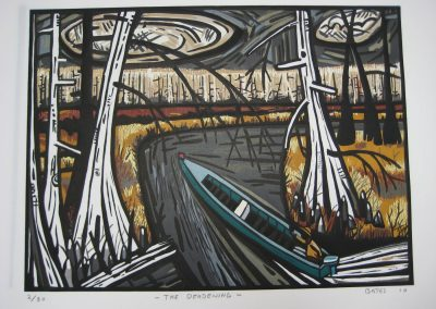 David Bates, The Deadening, 2010, Woodcut in twelve colors, 23 1/2h x 28 3/4w in