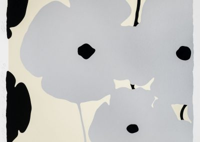 Donald Sultan, Four Poppies II - Silver and Black Poppies, 2020, Color silkscreen with enamel inks and flocking on 4-ply museum board, 46h x 46w in
