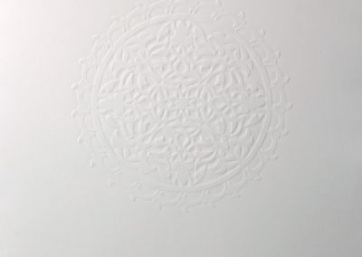 Anila Quayyum Agha, A Hundred Leaves, 2019, Embossed print on paper, 29h x 21 1/2w in