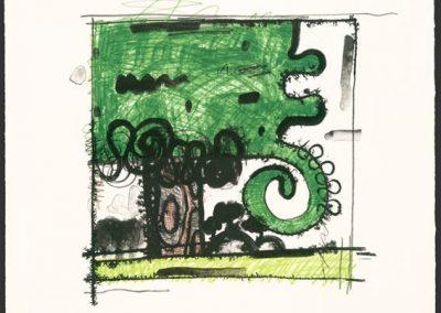 Carroll Dunham, Tree 2, 2009, Lithograph, 24h x 20 1/2w in