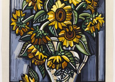 David Bates, Sunflowers, 2008, Woodcut in nineteen colors, 46 3/4h x 35w in