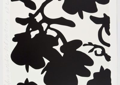 Donald Sultan, Lantern Flowers - Black and White, 2017, Color silkscreen with over-printed flocking on Rising, 2-ply museum board, 32h x 32w in