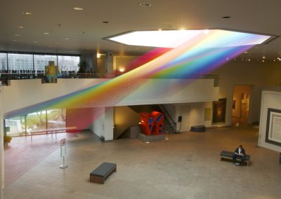 Plexus no. 29, 2014, Site-specific installation at BYU Museum of Art, Thread, painted wood and hooks